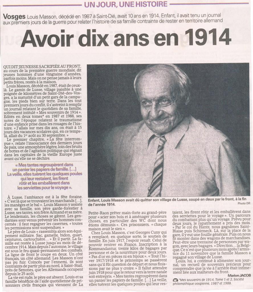 Le journal de guerre du vosgien louis masson 1904 1987 histoire pat - Le journal des vosges ...